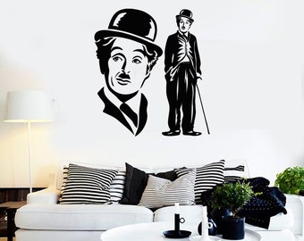 Wall Vinyl Decal Charlie Chaplin Actor Portrait Movie Production Filmmaker Decor (#2409dn)
