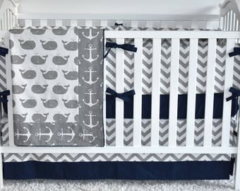 CUSTOM CRIB BEDDING - Grey whales and anchors, nautical nursery, sea, ocean, sailing, chevron, navy and grey, baby boy nursery, crib bumpers