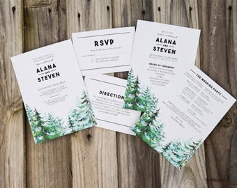 Rustic Forest Wedding Invitations + Programs Wedding Suite PRINTABLE Pine Tree Woods Template