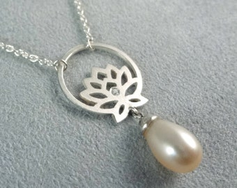 Collier Lotus Flower Sterling Silver with 0,04ct Diamond