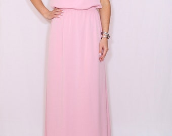 Light pink dress Bridesmaid dress Chiffon maxi dress Keyhole dress