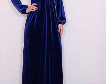 Royal blue maxi dress Velvet dress Long sleeve dress Empire waist dress Vneck dress Maternity clothing