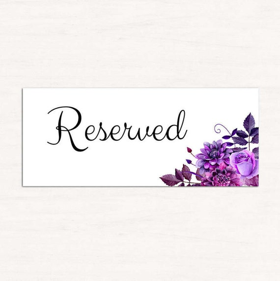Wedding reserved sign template purple wedding reserved seating for Reserved seating signs template