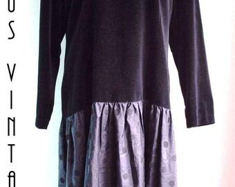 """Sale! Plus Size UK 20 Vintage 1920s-Style Evening Gown Black Velvet Taffeta Downton Gatsby EU 48 US 16 Bust 46"""" 117cm"""