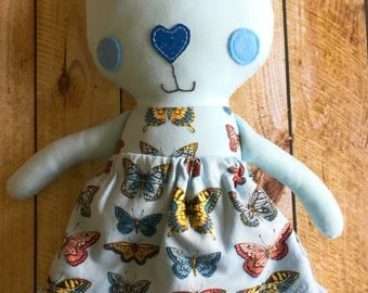 Cloth bunny doll with skirt blue butterflys gift CE tested