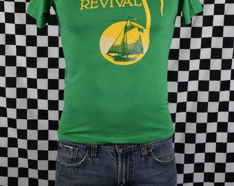 Vintage Hudson River Revival 1995 tee shirt / Peacekeeper / Green / Music Festival / Pete Seeger / Fits like XS-Small