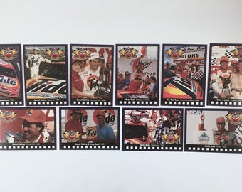 NASCAR Racing Cards, Tide Advertisement, 10 Trading Cards, 50th Anniversary, Daytona 500, Ricky Rudd, Darrell Waltrip, Promotion Cards