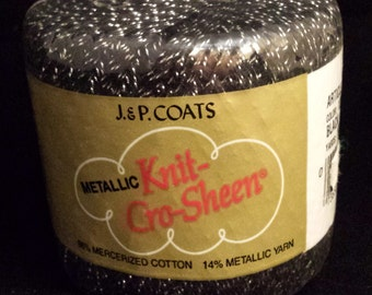 J&P Coats Metallic Knit-Cro-Sheer Black and Silver Yarn - 100 yards