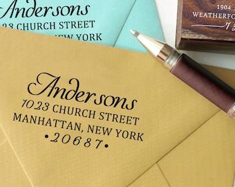 Self Inking Address Stamp, Custom Return Address Stamp, Custom Rubber Stamp, Custom Calligraphy Stamp, Wood-Mounted Stamp Stationary HS231P