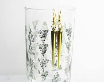 Spike Earrings, Long Spike Earrings, Gold Spike Earrings, Dangle Earrings, Gold Dangle Earrings, Handmade Earrings, Affordable Earrings