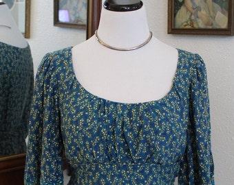 90's Vintage Blue Print Peasant Dress *FREE SHIPPING*