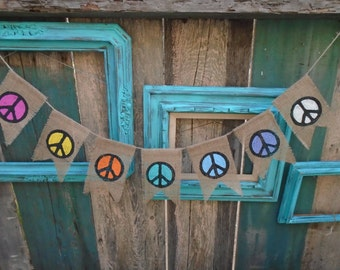 Peace Sign Banner Burlap Garland