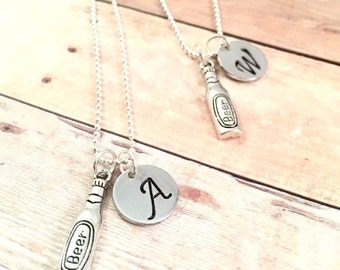 Best Friends Necklace, Best Buds necklace, college roommate, beer charm necklace, personalized Hand stamped initial necklace, BFF gift,