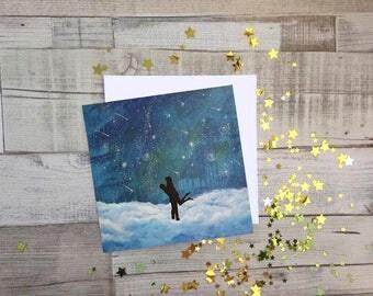 I Love You More Than All The Stars, Fine Art, Blank Greetings Card, UK Seller.
