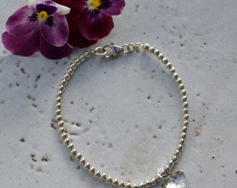 Sterling Silver Heart Charm Bead Bracelet