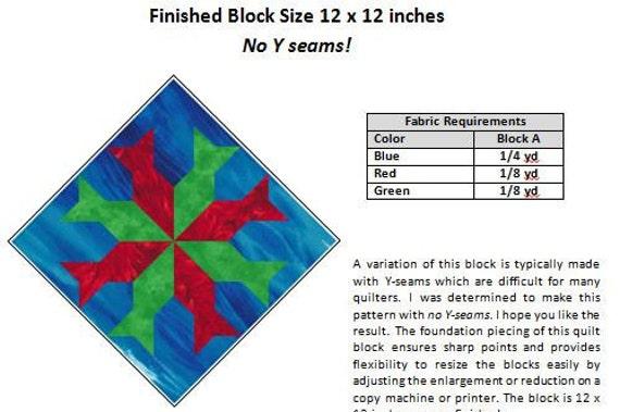 Eight Point Star Fish Paper Pieced Pattern Fish Quilt Pattern