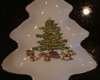 Vintage Holiday Hostess Japan Christmas Tree Dish/ Cookies for Santa/ Retro Christmas/ Made in Japan
