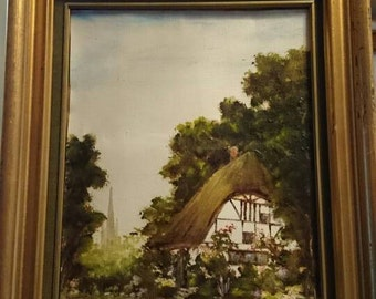 Vintage English Oil Painting Pastoral 1973