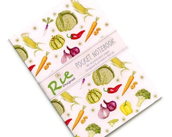 Vegetable Notebook A6 Recycled Plain Paper Journal Jotter Notebook Sketch Food Pocket Recipe Cooks Note Book