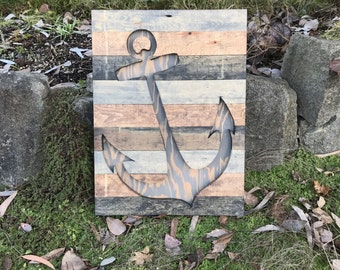 Rustic Nautical Wood Anchor Silhouette Wall Art
