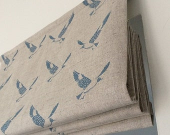 Scandi Bluebird - made to measure roman blind - Blue natural linen fabric