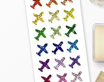 "Planner Stickers ""Glitter"" Airplane for Erin Condren, Happy Planner, Filofax, Scrapbooking"