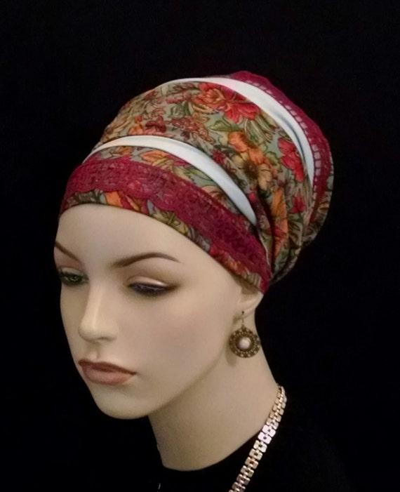 Warm floral silky sinar tichel with lace, sinar tichels, tichels, apron tichels, head wraps, chemo scarves, mitpachat