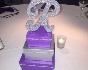 Sweet 16, MItzvah, Birthday or Quince Box Tower Centerpiece with glittered initial