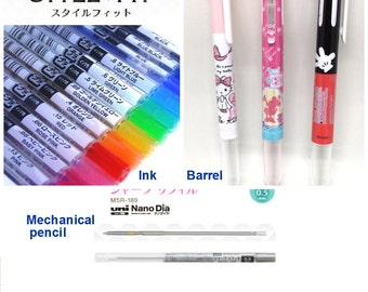 Uni Style Fit: 3 Slot Hello Kitty. 5 Slots Mickey Minnie. Barrel. Ink. Mechanical Pencil. Disney