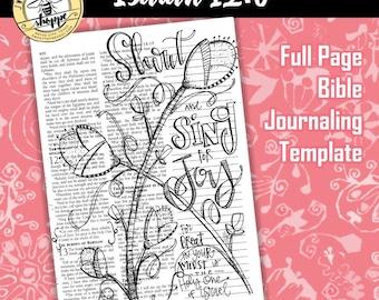 "Soul Inspired - Bible Journaling Template - ""Isaiah 12:6"" - digital download"