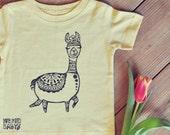 Alpaca Shirt, Llama kids shirt, Yellow tshirt,  Unisex kids clothing, Bohemian boy or girl shirt, Hippie kids shirt, yoga kids top, boho top