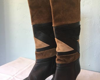 Suede and Leather Patchwork High Heel Boots Size 36