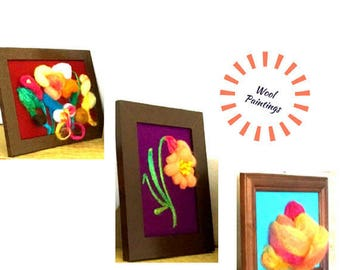 Floral Rapture 3D Picture Montage, Needle Felted Art, Genuine Needle Felted Fibre Art , Great Keepsake,  Absolutely Stunning Framed Decor