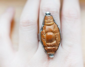 SALE! Smiling Buddha Vintage Carving Sterling Silver Ring, olive pit, large chinese carving, prayer bead, hedaio, mala, ojime, netsuke,