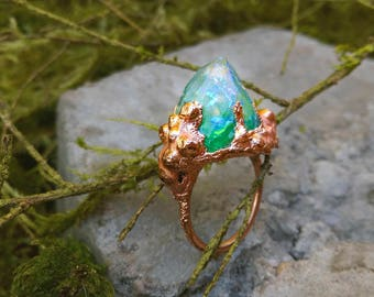 Mermaid Lagoon Turquoise Iridescent Electroformed Quartz Point Ocean Resin Ring