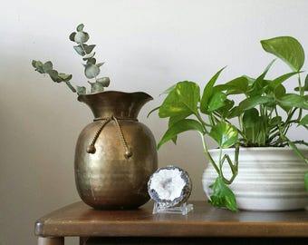 Large Brass Planter, Mid Century Modern Planter Gold Planter Mid Century Planter Brass Urn, Brass Planter Brass Vase Hammered Brass Gold Urn