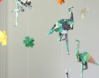 Baby mobile origami 7 Flamingo patterns tropical jungle, and cherry blossoms