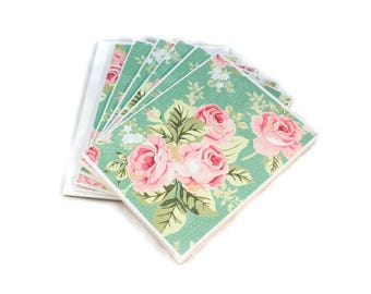 Notecard Set, Cottage Chic, Shabby Vintage, Roses, Blank Notecards, Note Cards, Floral Notecards, Personal Stationery, Set Of Five, Cute