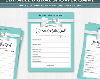 He said she said game template, guess who bride or groom, wedding questions game, bride and groom question game, bridal party games, DIGITAL