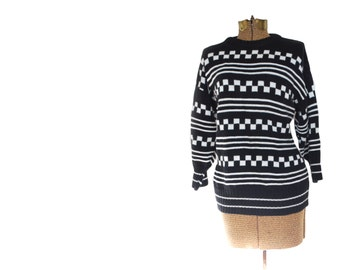 Black and White Checkerboard Sweater Vintage Sweater Taxi Cab Shirt Mauye Claire Made in USA Three Quarter Sleeve Cotton
