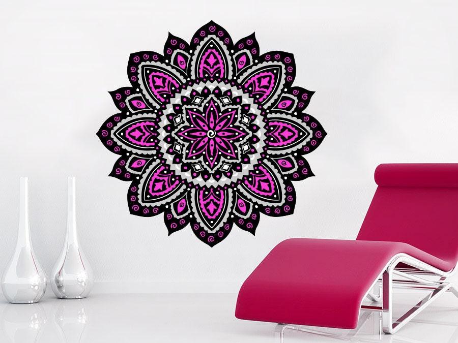Full Wall Mural Decals: MANDALA Wall Decals Full Color Mural Yoga Ornament Geometric