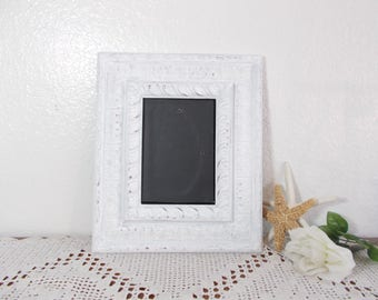 White Shabby Chic Picture Frame 5 x 7 Ornate Photo Decoration French Country Farmhouse Romantic Cottage Home Decor Spring Summer Wedding