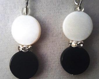 Black and White Half Earrings