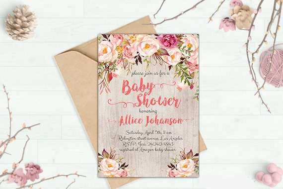 boho baby shower invitation printable floral baby shower, Baby shower invitations