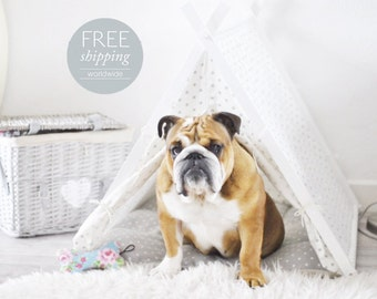 Dog tent - white with gray polka dots (Large size)