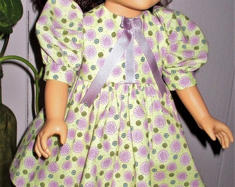 "18"" ag green floral doll dress, multi-color doll dress, floral doll dress with short sleeves, flower blossom doll dress"