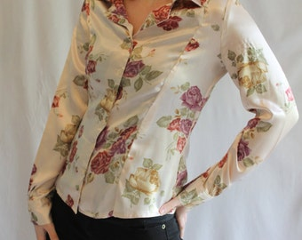 1990's floral long sleeve shirt