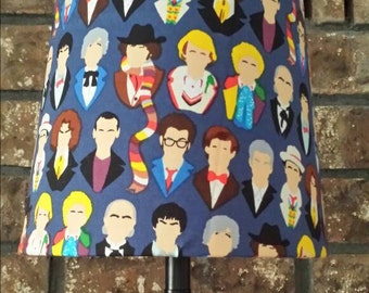 Doctor Who Lamp Shade Featuring All 13 Doctors