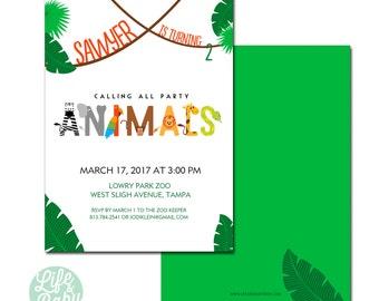 Party Animal Birthday Invitation | Zoo Birthday Invitation | Jungle Birthday Invitation | Party Animal Invitation -  5x7 with reverse side