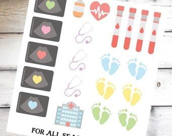 Pregnancy Planner Stickers, Ultrasound Sonogram Planner Stickers, Fits Erin Condren Planner